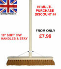 "18"" Soft Broom C/W Handle & Stay Brush Sweeping Industrial Yard Outdoor Strong"