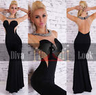 Black Beige Prom Maxi Evening Dress Size 8 10 12 14 16 Backless Cocktail Gown