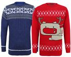 MEN GENTS KNITTED CABLE FAIRISLE REINDEER CHRISTMAS XMAS NOVELTY JUMPER TOP S-XL