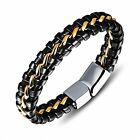 Silver/Gold Men's Stainless Steel Curb Chain Leather Bracelet Fashion Jewelry