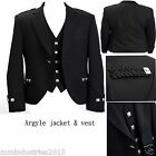"Argyle Black Kilt Jacket 100% Wool With Waistcoat/Vest Handmade - Sizes 36""- 54"""
