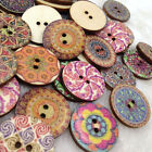 10/50/100/500pc European Round SunFlowers Wood Buttons 25mm Sewing Mix Lots W264