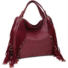 Dasein Fringe Studded Faux Leather Hobo Shoulder Bag