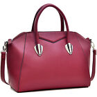 Dasein Faux Leather Weekender Satchel Tote Shoulder Bag with Removable Strap