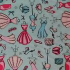 Dress Mannequin Blue 100% cotton FQ Fat Quarter 1/2 Half Full Metre