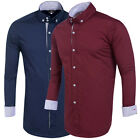 New Mens Fashion Shirts Slim Fit Dress Shirts Long Sleeve White Button Down Tops