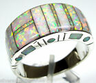 White Fire Opal Inlay 925 Sterling Silver Men's, Woman Band Ring Size 9.5 or 10