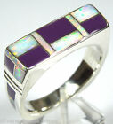 Sugulite and White Fire Opal Inlay 925 Sterling Silver Men's Ring size 11.5