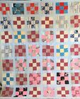 Antique Vintage Handmade Quilt Nine Block Patchwork Quilt 94 x 102