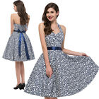 Vintage Retro Floral 50s Retro Swing Pinup Housewife Evening Dress