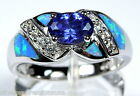 New Tanzanite & Blue Fire Opal Inlay 925 Sterling Silver Ring Size 6,7,8,9