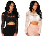 25578-Sexy White or Black Sheer Lace Long Sleeve Crop Cropped Top-UK 8-12