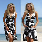 Women Fashion Sleeveless V neck Irregualr Black&White Floral Evening Party Dress