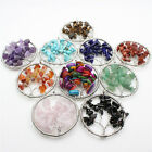 Round Tree of Life Crystal Gemstone Wire Wrap Natural Stone Pendant Fit Necklace
