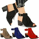 NEW WOMENS LADIES LOW BLOCK HEEL SANDALS SUMMER TASSEL OPEN TOE SHOES STRAP SIZE