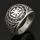 Biker 925 Sterling Silver 7#8#9# Fashion Men Cross Gothic Finger Ring Jewelry