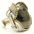 Wire Wrapped Pyrite Cab Silver / 14kt Gold Filled Ring