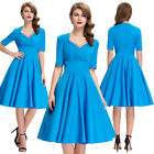 Womens Vintage Style 1950's Blue Retro Swing Pinup Evening PROM Dress