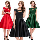 RED+BLACK Vintage Rockabilly Retro Swing 50's 60's Pinup Housewife Party Dress