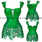 Sexy Womens Faux Leather Zipper Back Green Corset Halter Dress Outfit Bustier HB