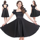 Womens Backless Satin HOUSEWIFE Puff Sleeve Retro Vintage BLACK Sz M PROM Dress