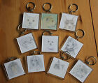 New Square Keyrings Various Animal Artwork Designs, Dogs, Cats and Big Cats