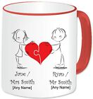 Personalised Mr & Mrs Mug Gift Heart Jigsaw Puzzle Love 11oz Mug Romantic Couple
