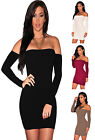22443-Off Cold Shoulder Long Sleeve Stretch Bodycon Mini Party Dress-UK 8-12