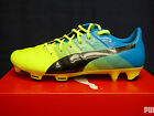 NEW PUMA evoPOWER 1.3 FG Men's Soccer Cleats - SafetyYellow/Blue;  10352401