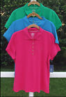 IZOD CASUAL SOLID BLUE or GREEN COTTON SPANDEX SHORT SLEEVE POLO SHIRT TOP L NEW