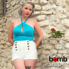50s Inspired LIGHT BLUE Bombshell PINUP Keyhole Detail High Neck HALTER Crop Top