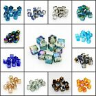 New 10PCS DIY Faceted Square Cube Cut Glass Crystal Loose Spacer Beads