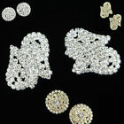 4PCS Clear Rhinestone Crystal Flower Button Sewing Craft Diamante Buttons DIY