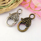8Pcs Tibetan Silver,Antiqued Bronze Heart Lock Clasps 13x25.5mm M1688