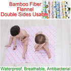 100x80cm Baby Bamboo Fiber Flannel Changing Mat Antibacterial Infant Urine Pad
