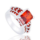 Luxury Gorgeous Women's Ring Red Cubic Zirconia Silver Party Ring Size 7-9