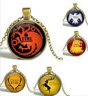 Game of Thrones Lannister Targaryen House Baratheon Glass Pendant necklace