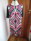 TU NAVY BLUE BRIGHT PINK AFRICA PATTERNED DRESS TUNIC SHORT SLEEVED UK 10 BNWT