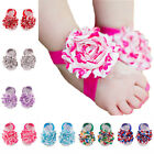 Kids Baby Infant Foot Flower Headband Shabby Elastic Bow Hair Band Accessories