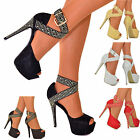WOMENS SPARKLY PLATFORM HIGH HEELS ANKLE STRAPS SANDALS PEEP TOE SHOES SIZES 3-8