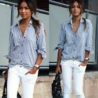 Fashion Womens Button Down Shirt Casual Long Sleeve Cotton T-shirt Top Blouse