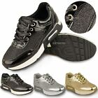 Womens Ladies Metallic Trainer Low Top Glitter Sneakers Fashion Sport Shoes Size
