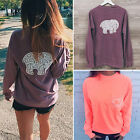 Womens Ladies Casual T-Shirt Pullover Long Sleeve Crew Neck Blouse Jumper Tops