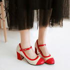 New Synthetic Patent Leather Block High Heel Mary Jane Women Shoes UK Size s881