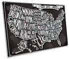United States of America Map SINGLE CANVAS WALL ART Framed Print