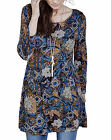 Joanna Hope MOROCCAN MOSAIC Blue Printed Stretch Jersey Tunic Top Sizes 12 to 30