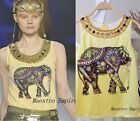 Jewel Tribal Ethnic Elephant Blouse Vintage Rhinestones Sleeveless Top