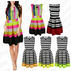 New Womens Stripes Lines Retro Ladies Joma Pleated Swing Skater Party Dress 8-16