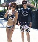 Korea Style Black Purple Floral Couple Swimwear Bikini Set Beach Short Swimsuit