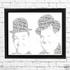Personalised Word Art A4 PRINT /Greetings Card LAUREL & HARDY Vintage Style Gift